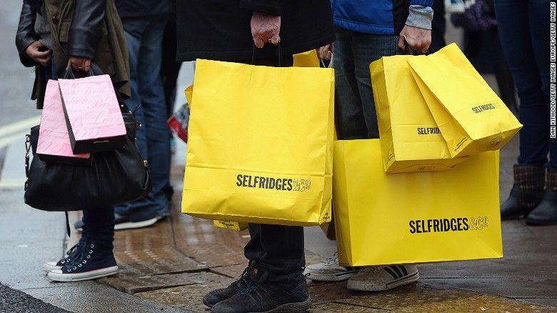 35 X 25cm Selfridges Medium Paper Shopper Carrier Gift Bag yellow