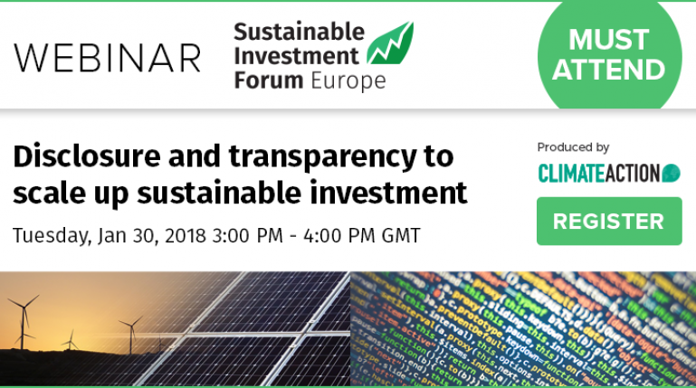 Disclosure and transparency to scale up sustainable investment